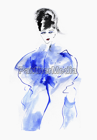 fashion illustration of woman in blue