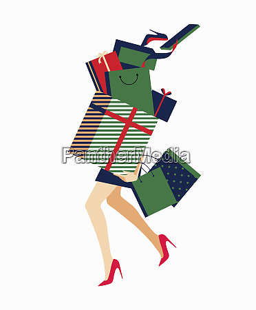 woman carrying huge pile of shopping