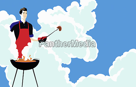 young man barbecuing in clouds of