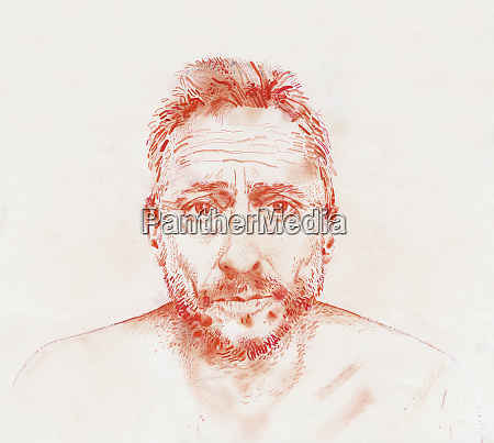 coloured pencil drawing of anxious man