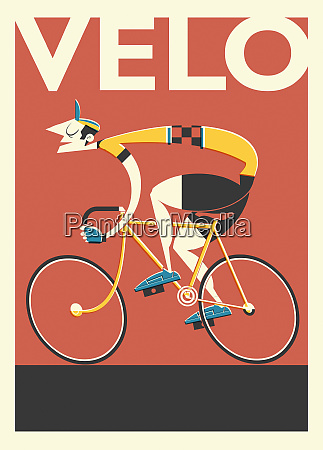 retro poster of french cyclist