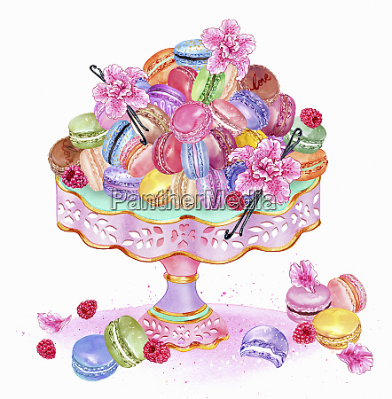 heap of macaroons on cake stand