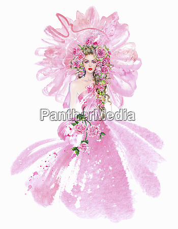 fashion model in pink evening gown