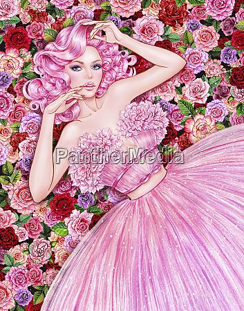 seductive woman lying in flowers