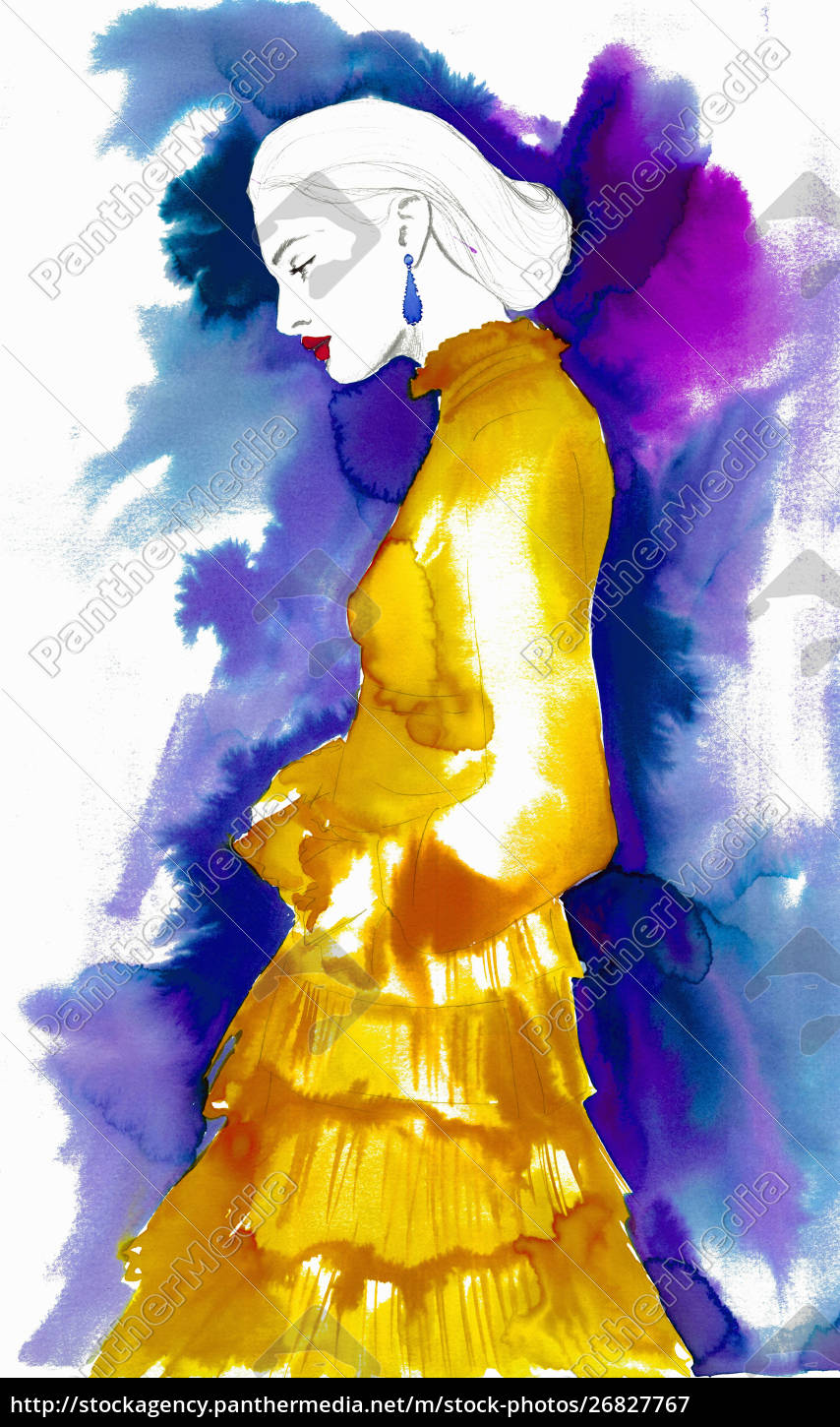 fashion, illustration, of, woman, wearing, frilly - 26827767