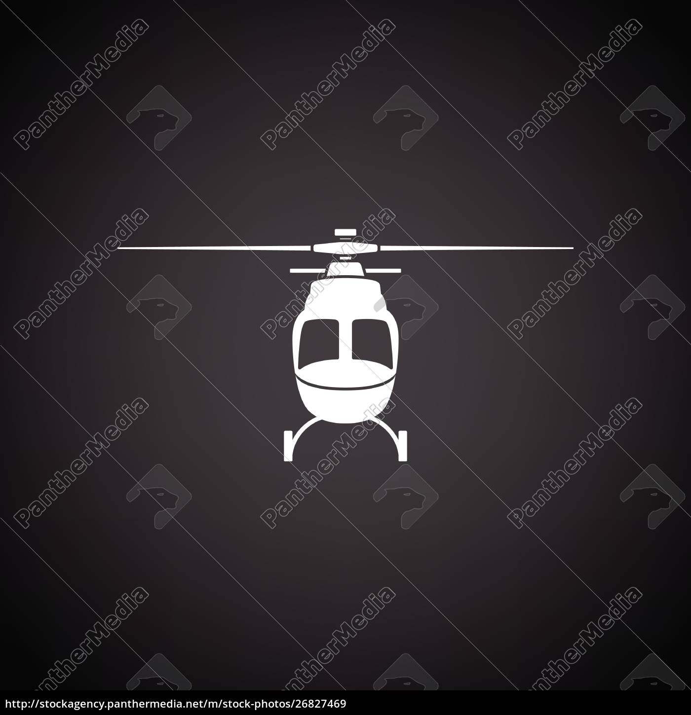 helicopter, icon, front, view - 26827469