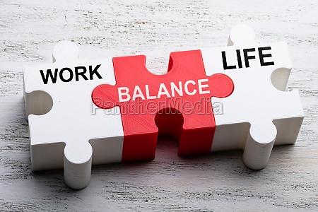 work balance and life words written