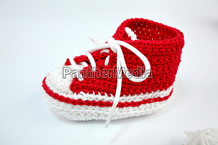 self crocheted baby shoes made of