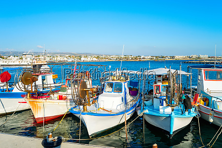 fishing boats paphos harbor cyprus