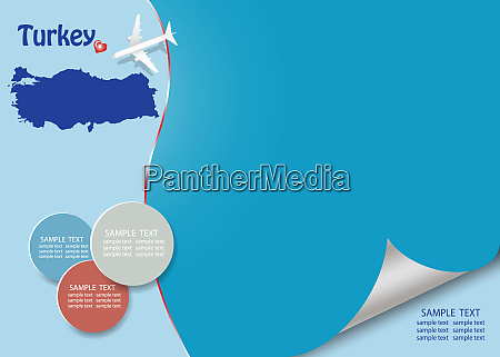 travel turkey template vector with page