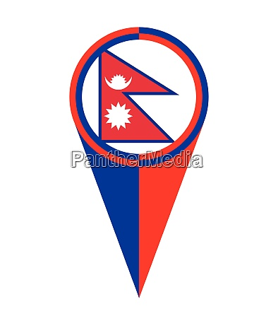 nepal map pointer location flag