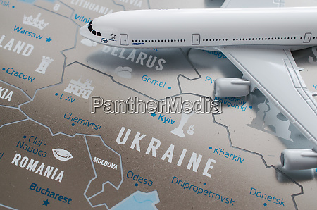 travel concept airplane model on europe