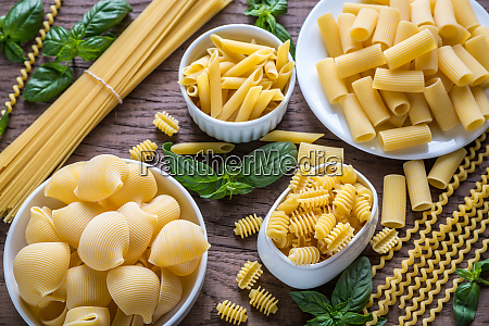 various types of pasta on the