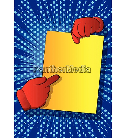 cartoon hands holding paper and pointing