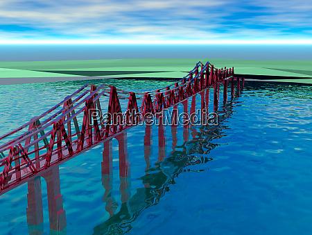 stilt bridge over a body of