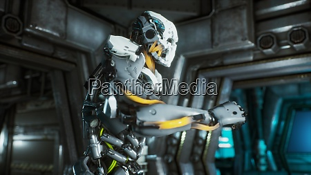 robot soldier runs through a futuristic