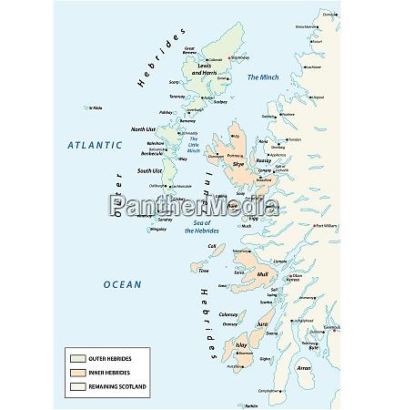 vector map of scottish archipelago hebrides