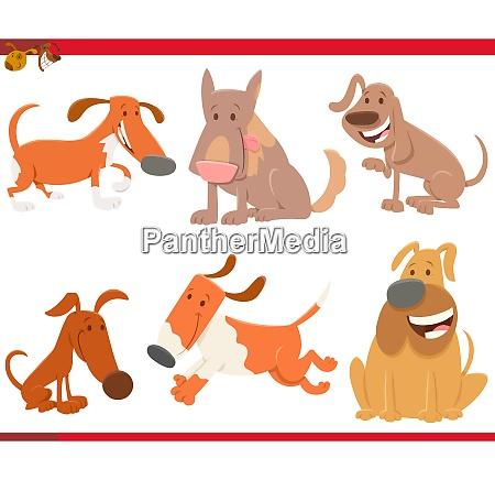 dogs or puppies cartoon animals set
