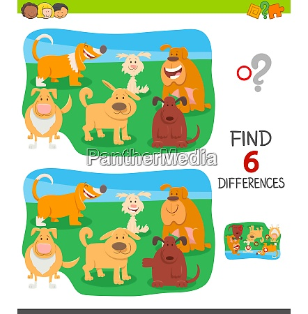 differences game with funny cartoon dogs