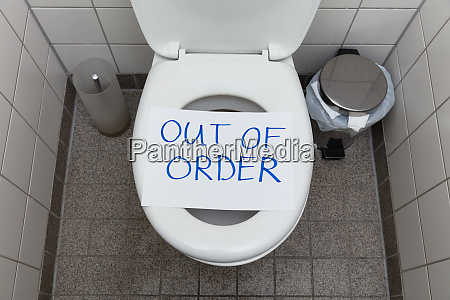 out of order text on toilet