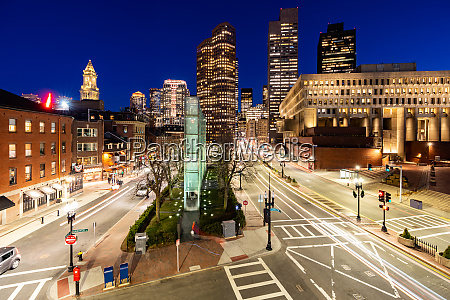 boston downtown cityscape sunset