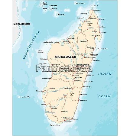 republic of madagascar road vector map