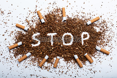 stop word written in tobacco surrounded