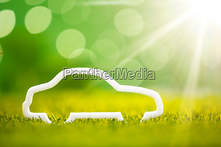 eco car on green grass