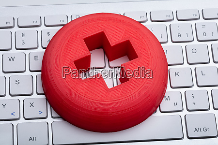 first aid sign on keyboard