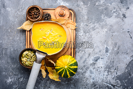 bowl of warm pumpkin soup