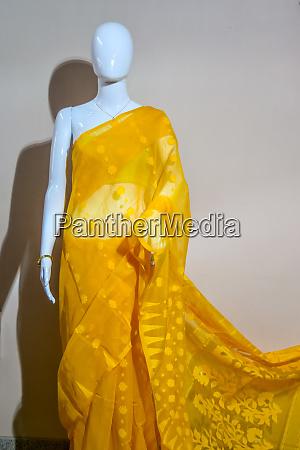 a traditional indian silk saree displayed