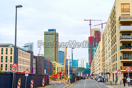 construction site urban frankfurt cityscape