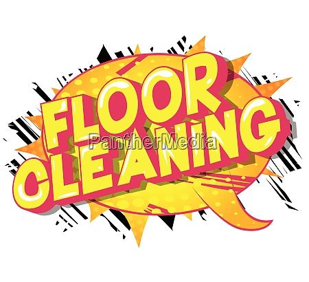 floor cleaning comic book style