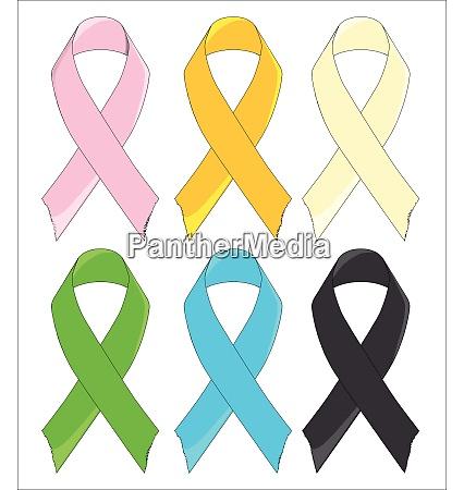 six awareness ribbons