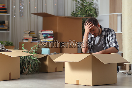 sad evicted man moving home complaining