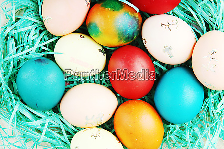 studio shot of colorful easter eggs