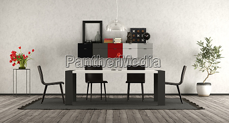 comedor moderno con muebles en blanco