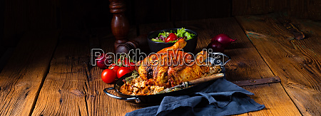 grilled spicy chicken with barley groats