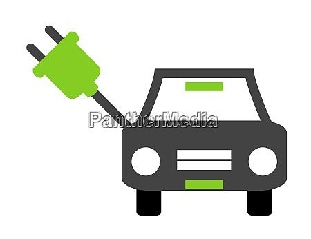 electric car icon with green plug