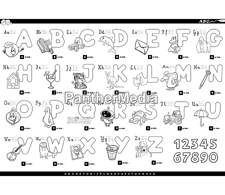alphabet with cartoon characters color book