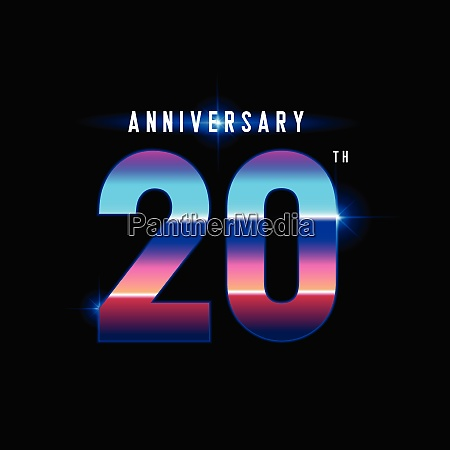 20 years anniversary celebration logotype colorful