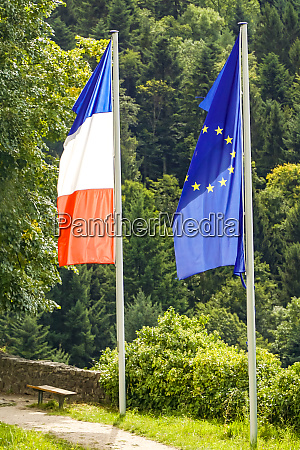 french and european flag