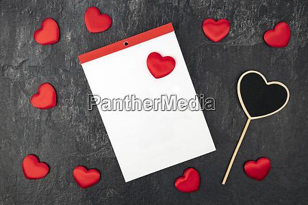 blank calendar with little hearts