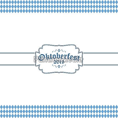 oktoberfest 2019 background with blue white