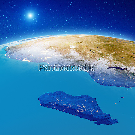 africa and madagascar at night