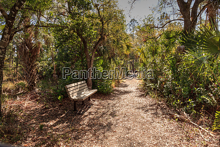 nature trail and bench along a