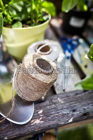 ball of natural hemp twine on