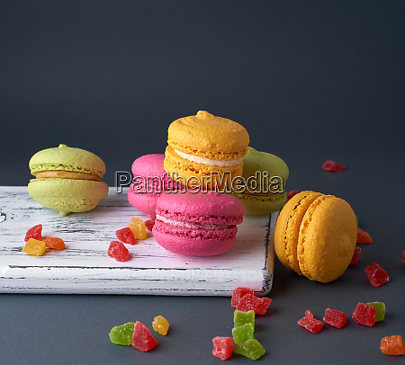 multicolored baked cakes of almond flour