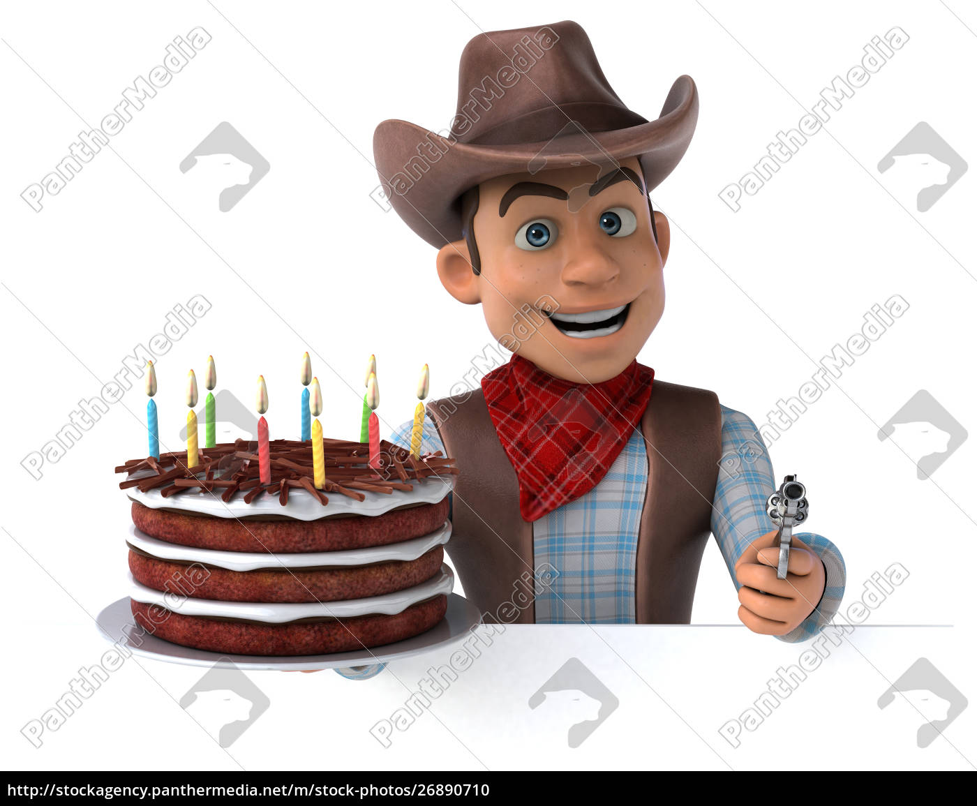 fun, cowboy, -, 3d, illustration - 26890710