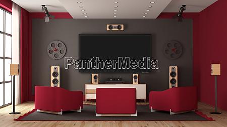 modern home cinema with flat tv